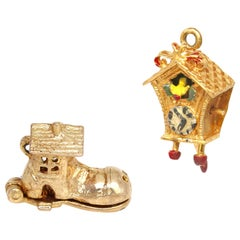 Victorian 9 Karat Gold Charms for Bracelet British Shoe Cuckoo-Clock