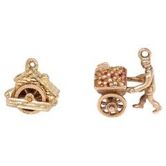 Victorian 9 Karat Gold Charms for Bracelet British Watermill Wheelbarrow