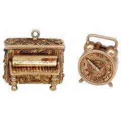 Victorian 9 Karat Gold Charms Piano Alarm Clock for Bracelet