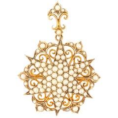 Victorian Ornate Pearl Star Pendant and Brooch, circa 1880 in Original Box