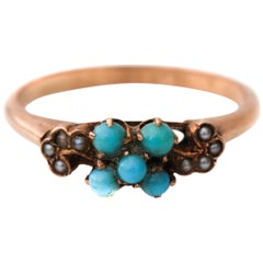 Victorian 9 Karat Turquoise and Seed Pearl Accent Rose Gold Ring