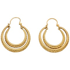 Victorian 9 Karat Yellow Gold Engraved Double Hoop Earrings