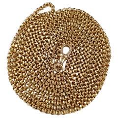 Victorian 9 Karat Yellow Gold Long Guard Muff Chain, 26.1 Grams