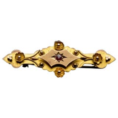 Victorian Yellow Gold Floral Star Motif Pin Brooch