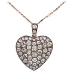 Victorian 9.0 Carat Old Mine Cut Diamond Large Sentimental Heart Pendant