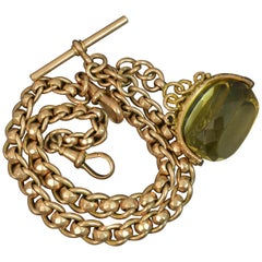 Victorian 9 Carat Gold Pocket Watch Rollerball Double Albert Chain and Fob