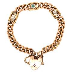 Victorian 9k Rose Gold Link and Gem Bracelet Estate Fine Jewelry
