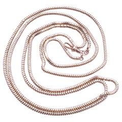 Victorian 9k Slinky Long Guard Snake Chain, C. 1890