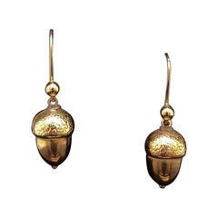 Victorian Acorn Drop Earrings 9kt Yellow Gold