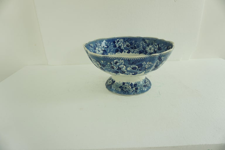 Scottish Victorian Adams Ironstone Blue, White Transfer Punch Bowl, English 1850 B1642