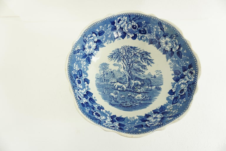 Victorian Adams Ironstone Blue, White Transfer Punch Bowl, English 1850 B1642 In Good Condition In Vancouver, BC