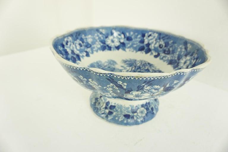 Mid-19th Century Victorian Adams Ironstone Blue, White Transfer Punch Bowl, English 1850 B1642
