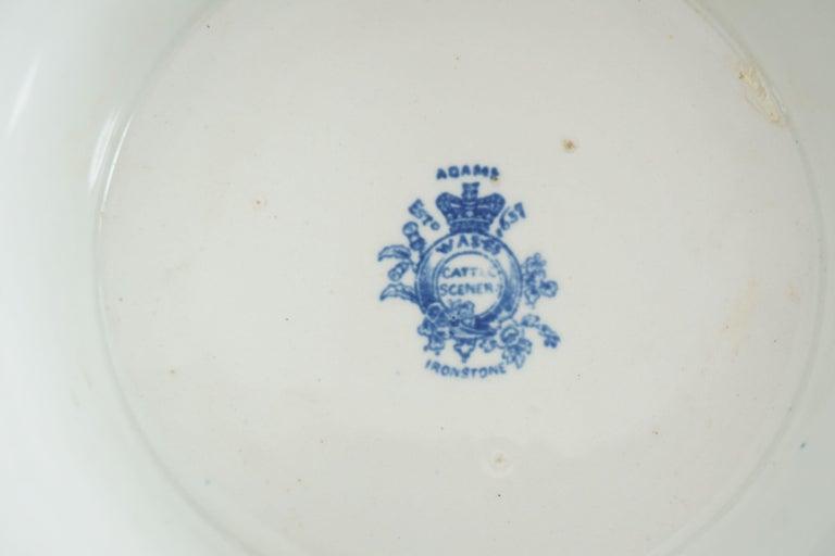 Victorian Adams Ironstone Blue, White Transfer Punch Bowl, English 1850 B1642 1