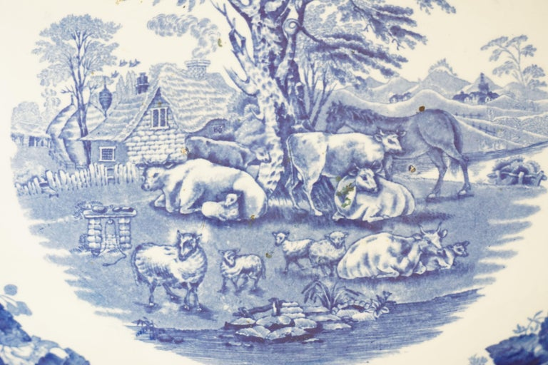 Victorian Adams Ironstone Blue, White Transfer Punch Bowl, English 1850 B1642 2