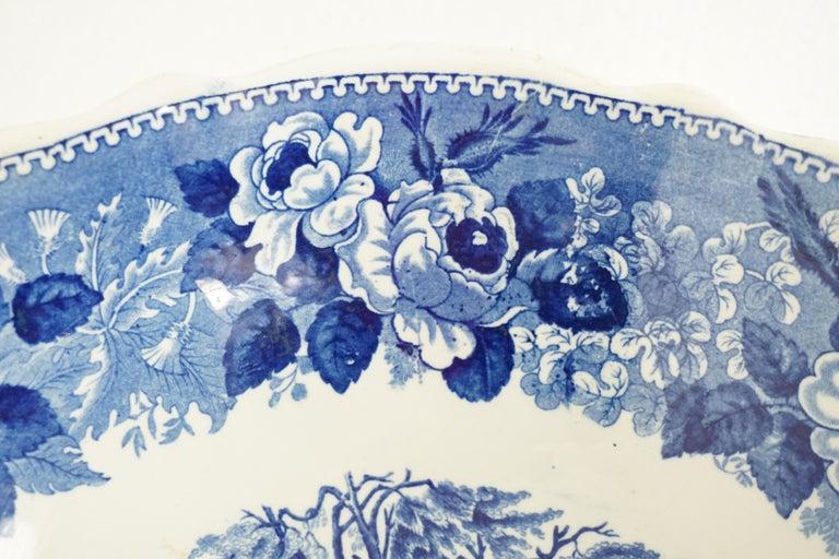 Victorian Adams Ironstone Blue, White Transfer Punch Bowl, English 1850 B1642 3