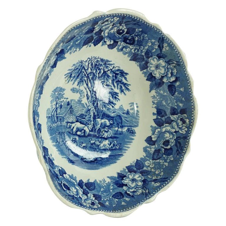 Victorian Adams Ironstone Blue, White Transfer Punch Bowl, English 1850 B1642