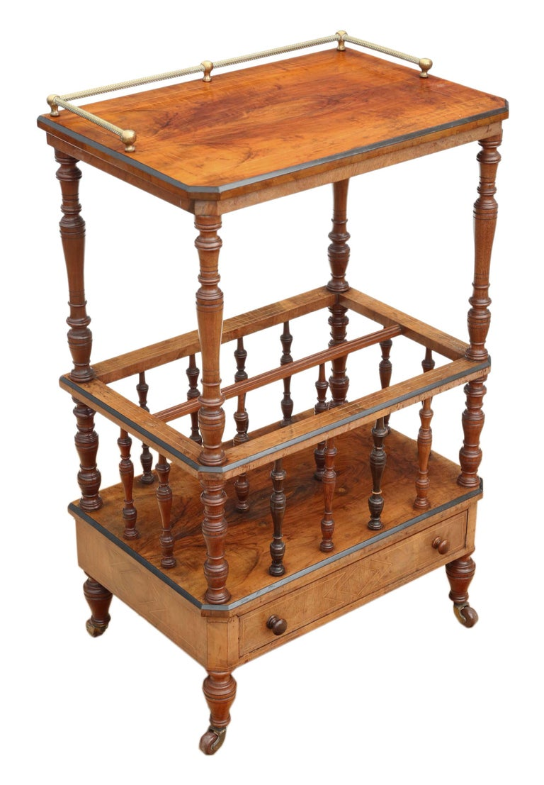 Victorian Aesthetic Burr Walnut Canterbury Whatnot For Sale 6