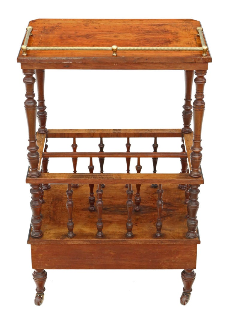 Victorian Aesthetic Burr Walnut Canterbury Whatnot For Sale 7