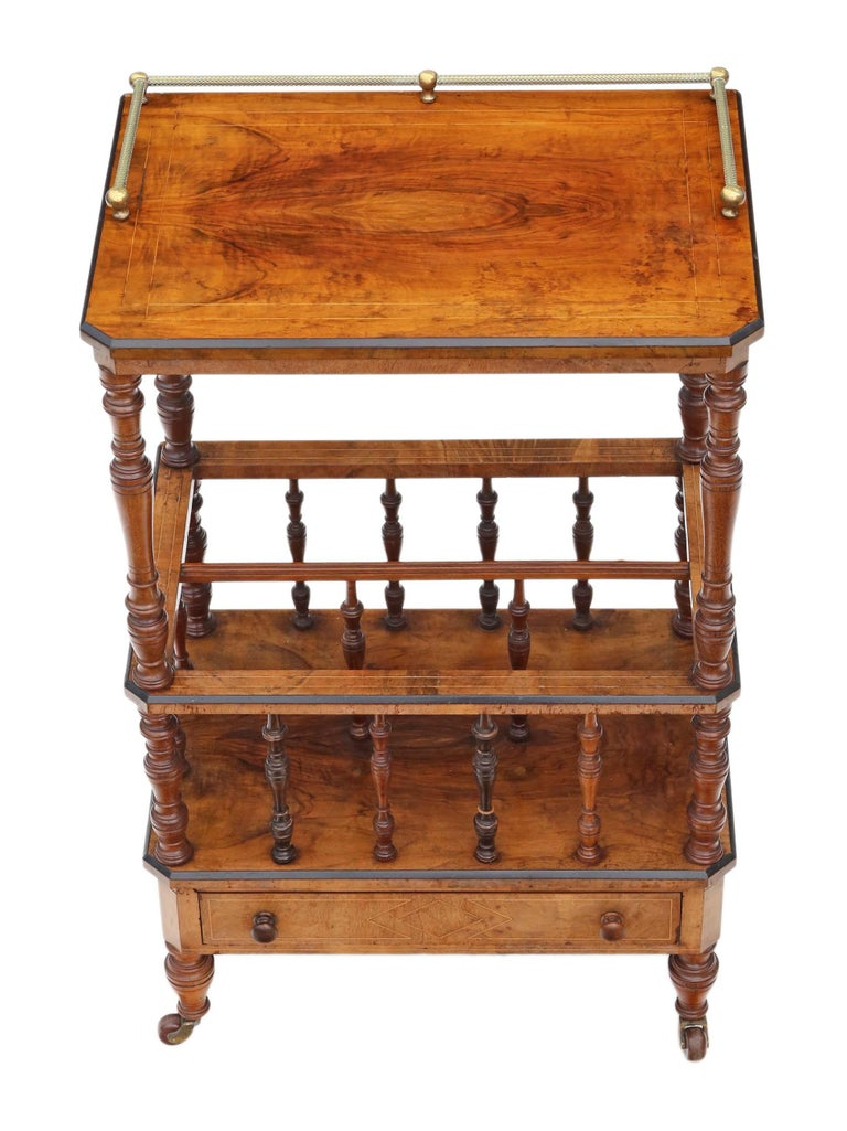 Antique quality Victorian Aesthetic circa 1880 burr walnut Canterbury whatnot or magazine rack. This is a lovely item, that is full of age, charm and character. An attractive and rare quality piece, with a lovely decorative look. No loose joints.