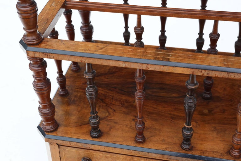 Late 19th Century Victorian Aesthetic Burr Walnut Canterbury Whatnot For Sale