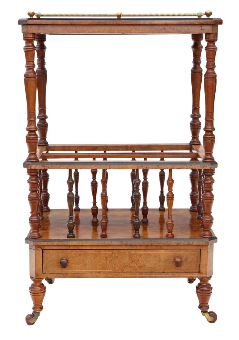Victorian Aesthetic Burr Walnut Canterbury Whatnot For Sale 3
