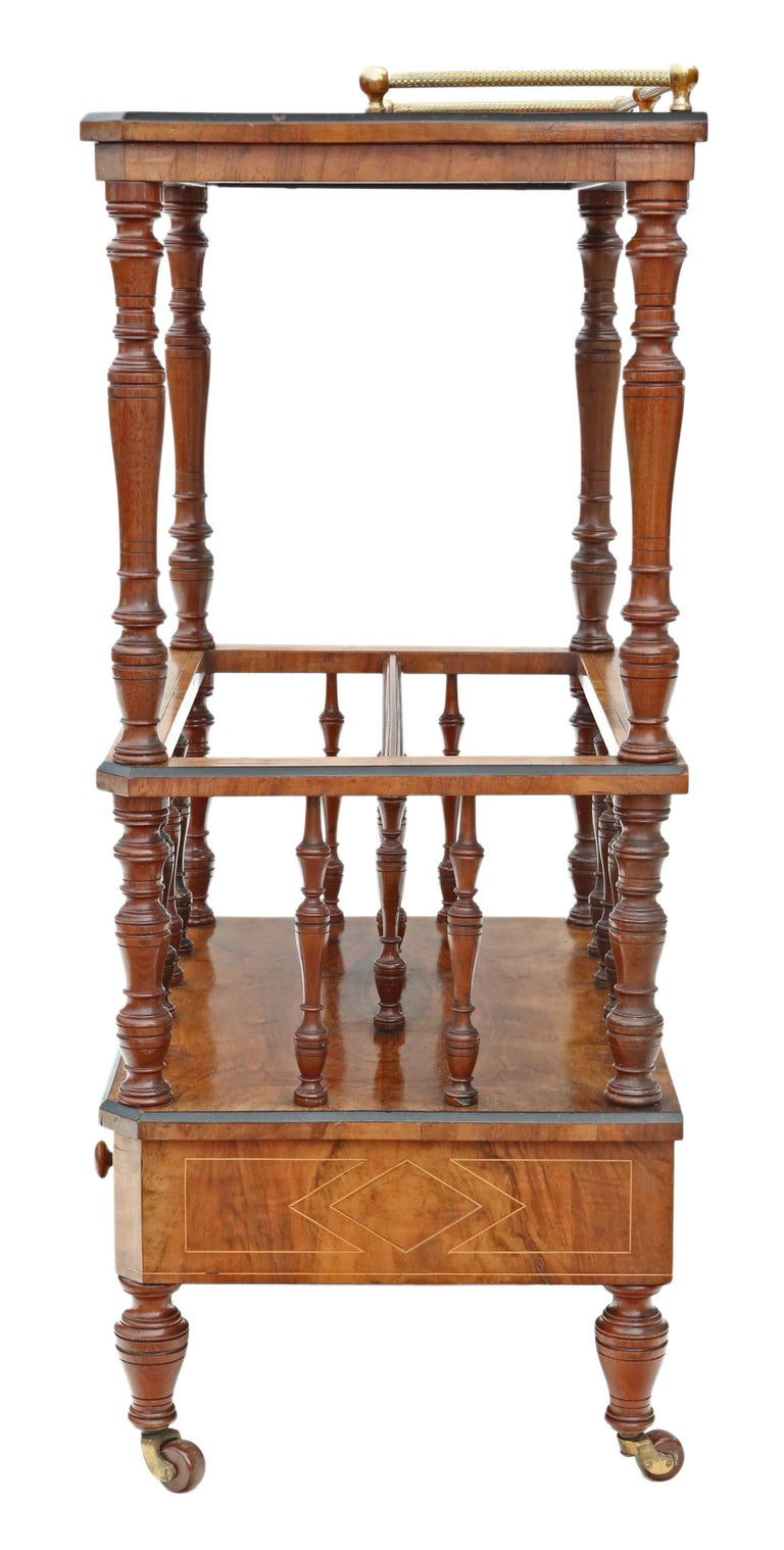 Victorian Aesthetic Burr Walnut Canterbury Whatnot For Sale 4