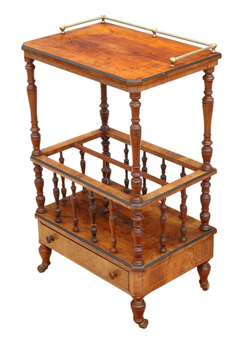 Victorian Aesthetic Burr Walnut Canterbury Whatnot For Sale 5