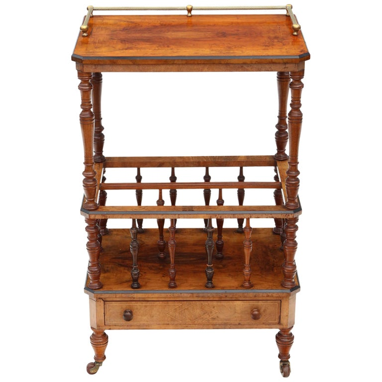 Victorian Aesthetic Burr Walnut Canterbury Whatnot For Sale
