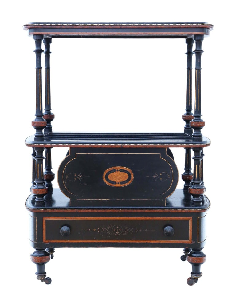 Victorian Aesthetic Inlaid Amboyna Canterbury Whatnot In Good Condition For Sale In Wisbech, Cambridgeshire