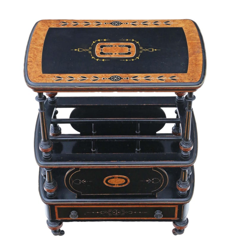 Late 19th Century Victorian Aesthetic Inlaid Amboyna Canterbury Whatnot For Sale