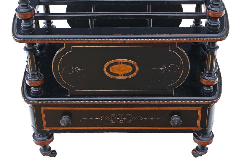 Victorian Aesthetic Inlaid Amboyna Canterbury Whatnot For Sale 1