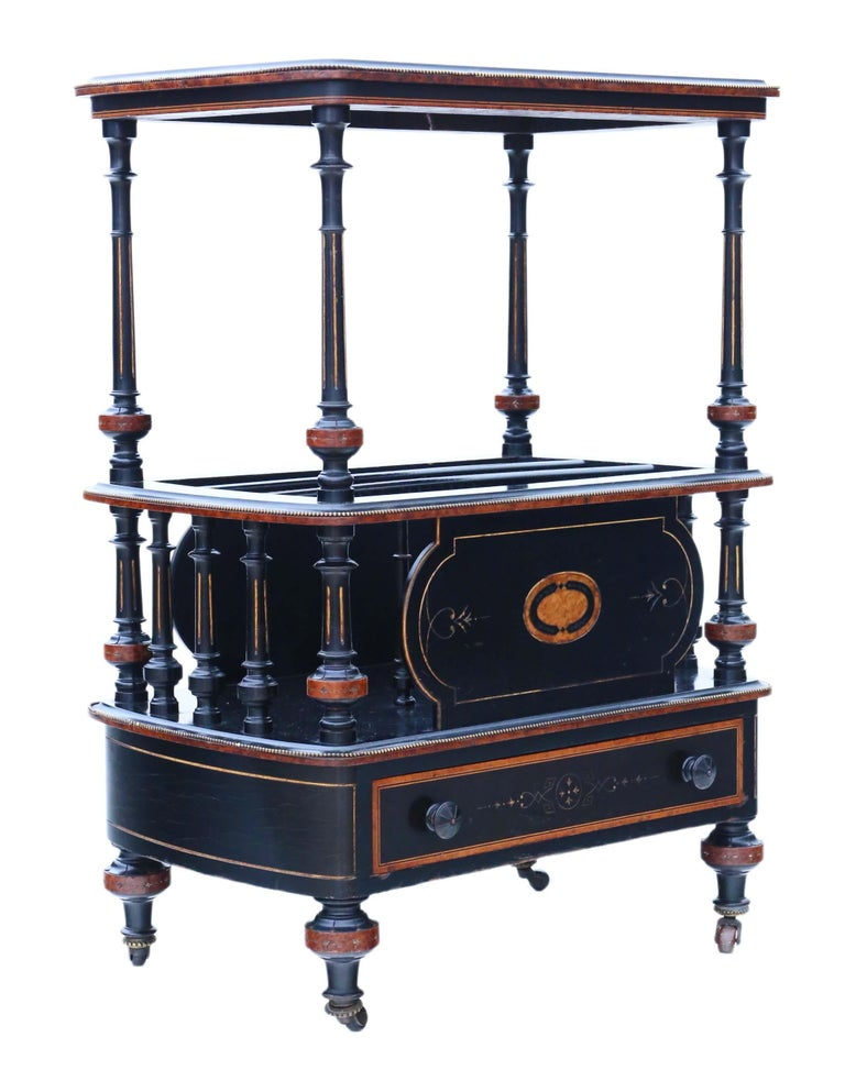 Victorian Aesthetic Inlaid Amboyna Canterbury Whatnot For Sale 3