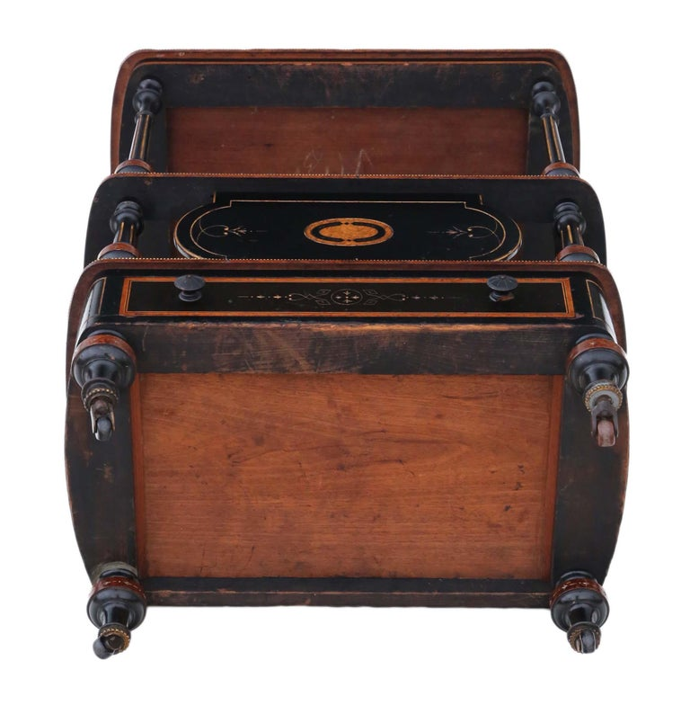 Victorian Aesthetic Inlaid Amboyna Canterbury Whatnot For Sale 5