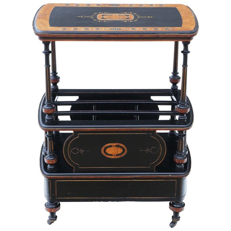 Victorian Aesthetic Inlaid Amboyna Canterbury Whatnot For Sale