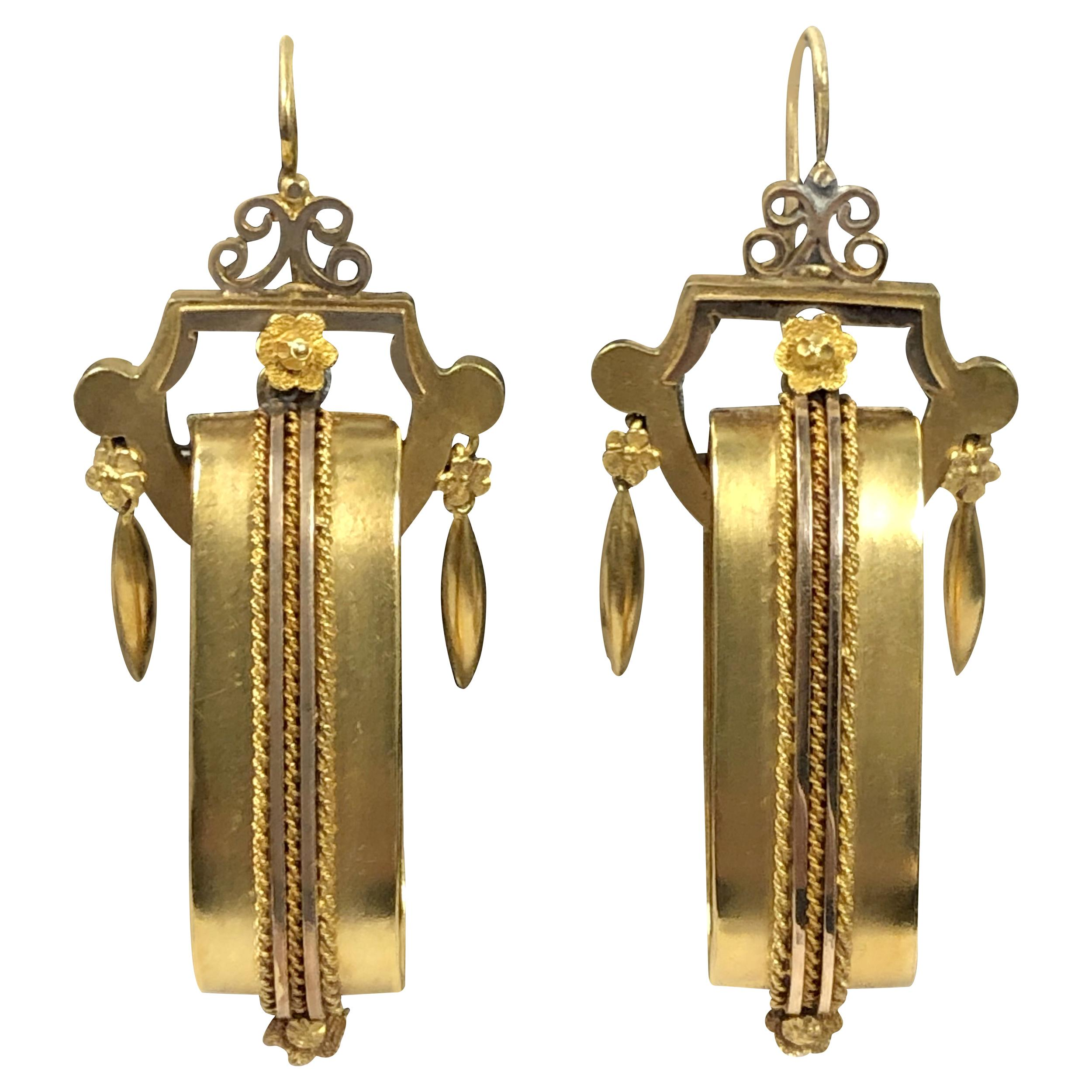 Victorian Aesthetic Large Yellow Gold Earrings