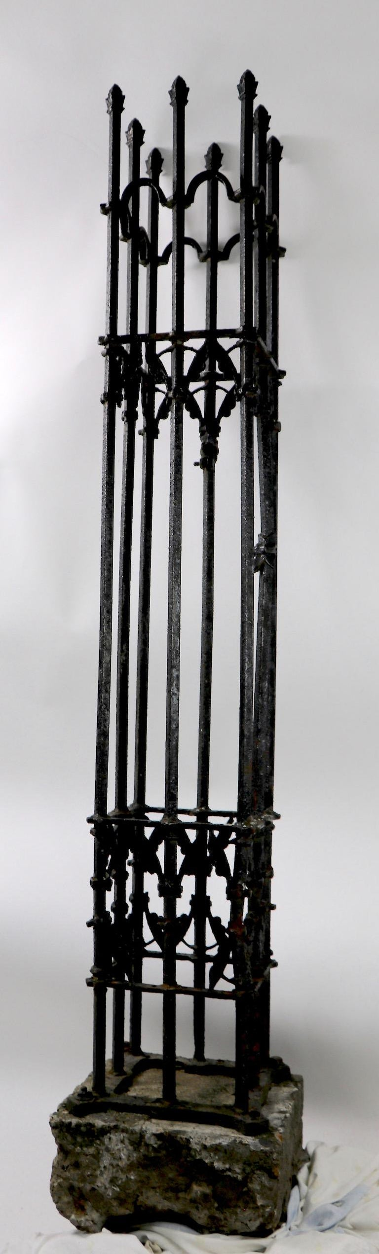 Victorian Aesthetic Movement Cast Iron Fence Post For Sale