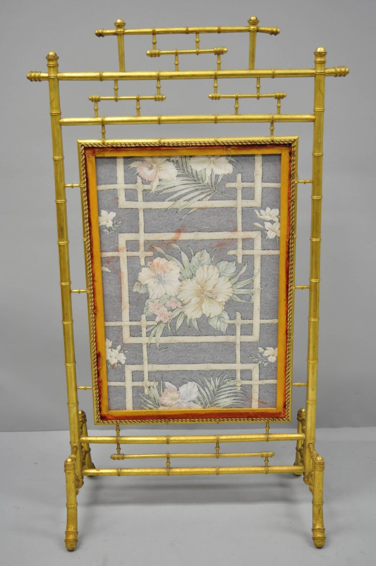 Victorian Aesthetic Movement Gold Giltwood Faux Bamboo Fire Screen Silk Fabric For Sale 6