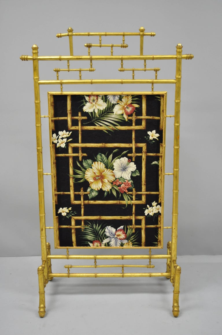 Victorian Aesthetic Movement Gold Giltwood Faux Bamboo Fire Screen Silk Fabric For Sale 7