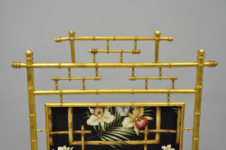 English Victorian Aesthetic Movement Gold Giltwood Faux Bamboo Fire Screen Silk Fabric For Sale