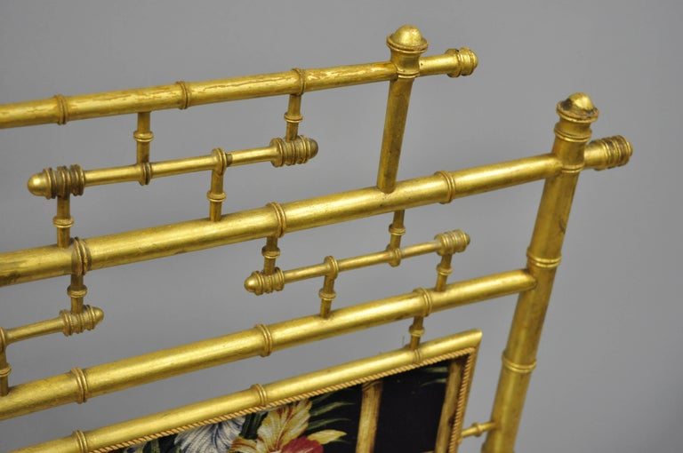 Victorian Aesthetic Movement Gold Giltwood Faux Bamboo Fire Screen Silk Fabric In Good Condition For Sale In Philadelphia, PA