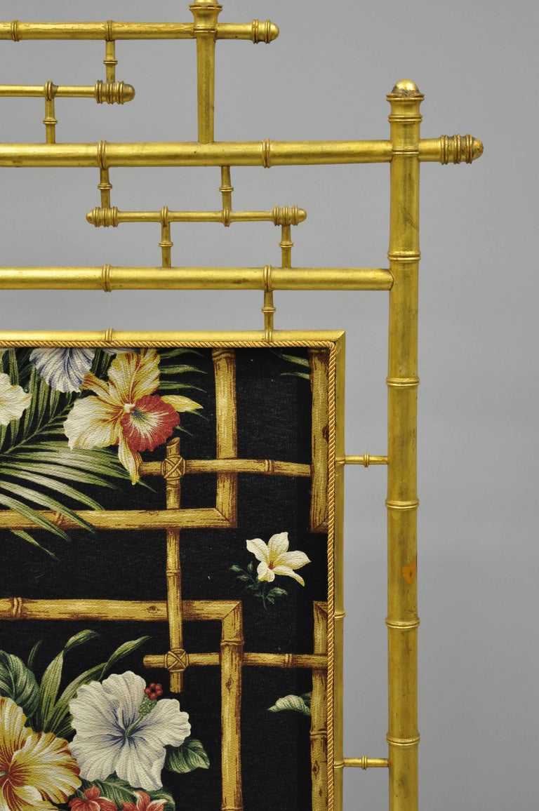 19th Century Victorian Aesthetic Movement Gold Giltwood Faux Bamboo Fire Screen Silk Fabric For Sale