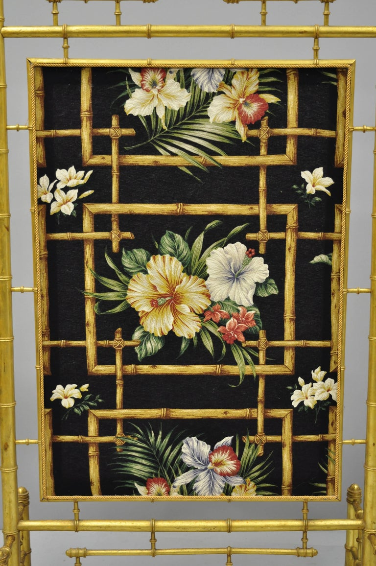Victorian Aesthetic Movement Gold Giltwood Faux Bamboo Fire Screen Silk Fabric For Sale 1