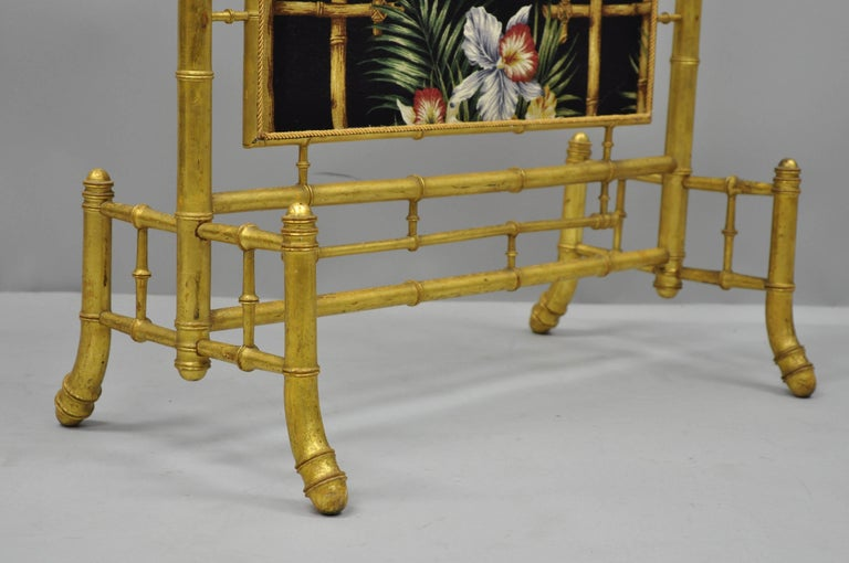 Victorian Aesthetic Movement Gold Giltwood Faux Bamboo Fire Screen Silk Fabric For Sale 2