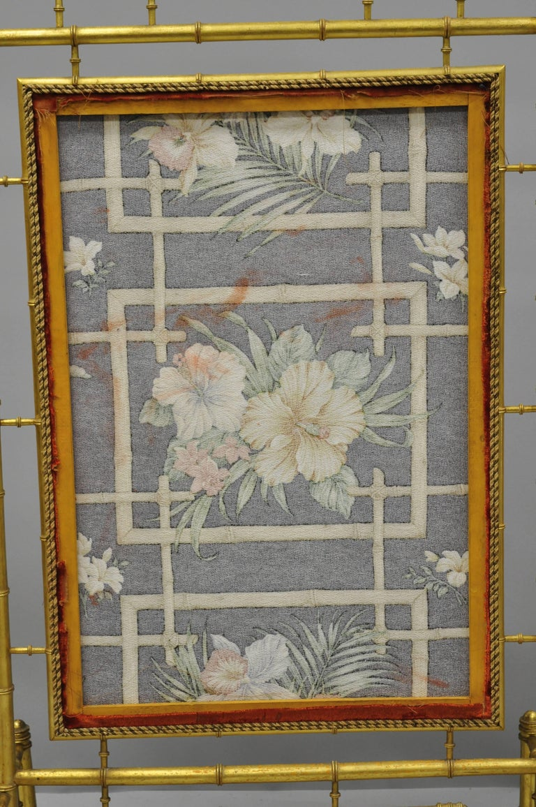Victorian Aesthetic Movement Gold Giltwood Faux Bamboo Fire Screen Silk Fabric For Sale 3