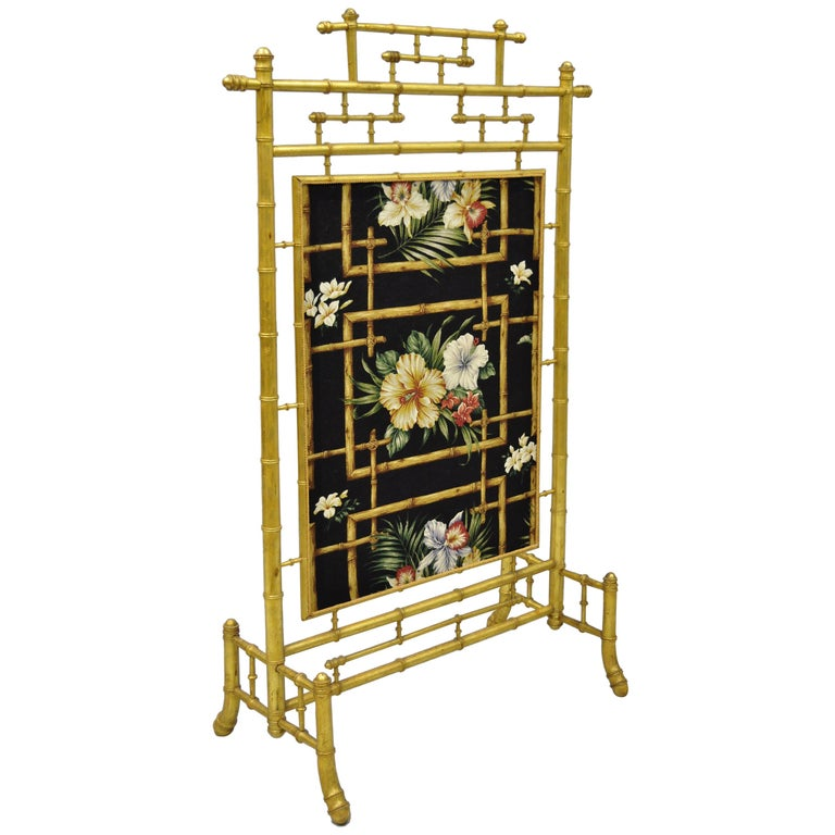 Victorian Aesthetic Movement Gold Giltwood Faux Bamboo Fire Screen Silk Fabric For Sale