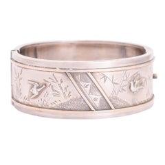 Victorian Aesthetic Movement Silver Cuff Bangle