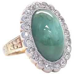 Retro Aesthetic Movement Style Turquoise Diamond 18 Karat Gold Ring