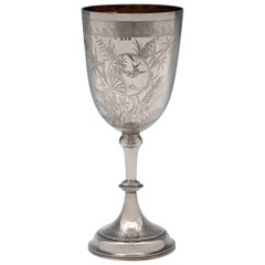 Victorian Aesthetic Period Engraved Antique Sterling Silver Goblet