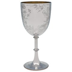 Victorian Aesthetic Period Engraved Sterling Silver Goblet by W. W. Harrison