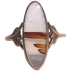 Victorian Agate and 14 Carat Gold Ring